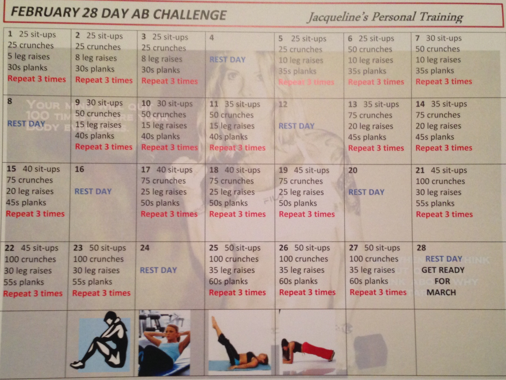 Abs Challenge Chart February ab challenge